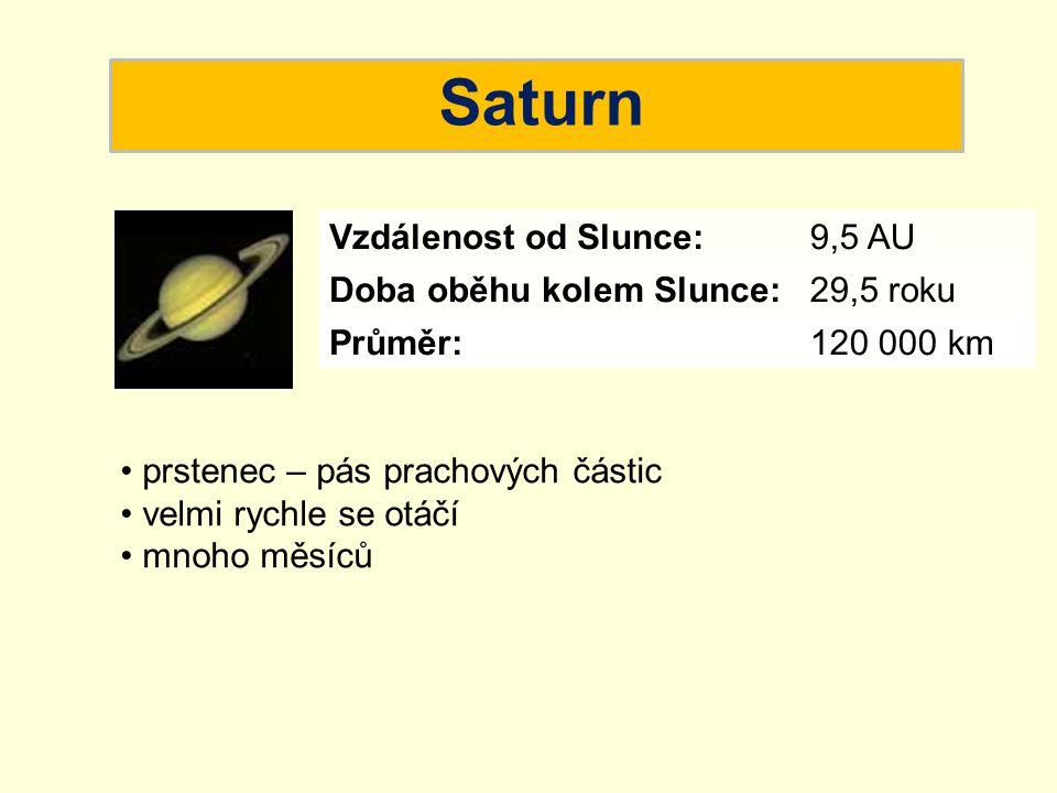 Saturn Vzdálenost od Slunce: 9,5 AU Doba oběhu kolem Slunce: 29,5 roku