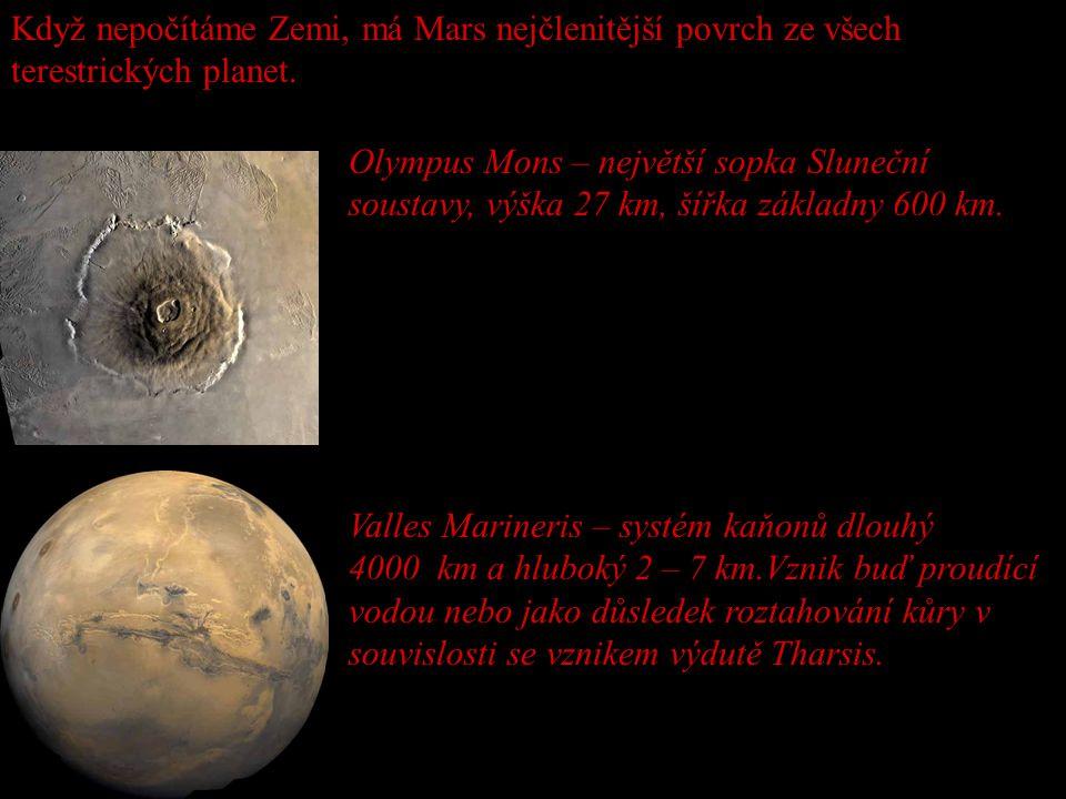 Když nepočítáme Zemi, má Mars nejčlenitější povrch ze všech terestrických planet.