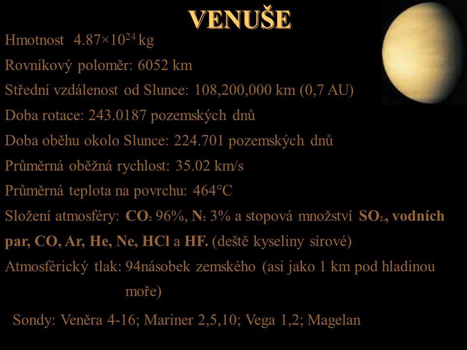 VENUŠE Hmotnost 4.87×1024 kg Rovníkový poloměr: 6052 km