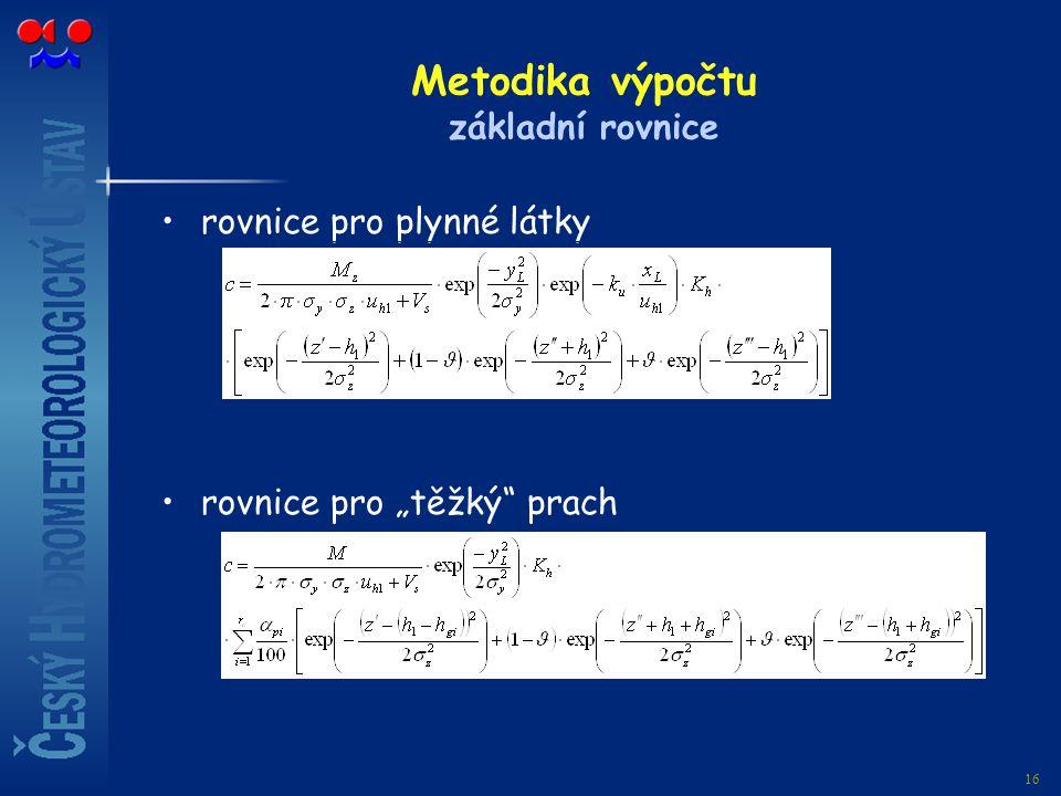 Metodika výpočtu základní rovnice