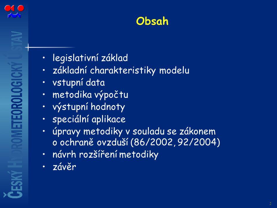 Obsah legislativní základ základní charakteristiky modelu vstupní data
