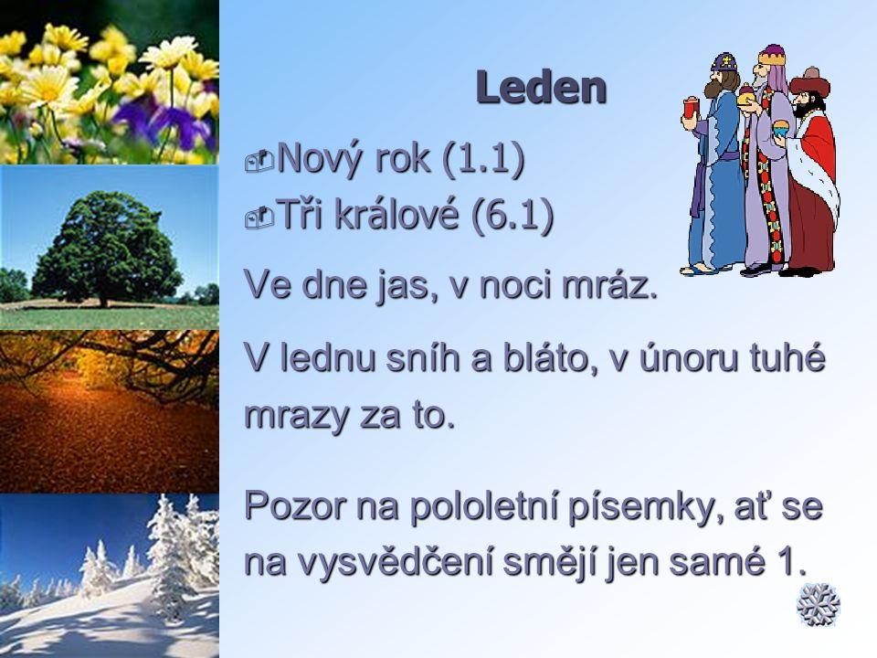 Leden Nový rok (1.1) Tři králové (6.1) Ve dne jas, v noci mráz.