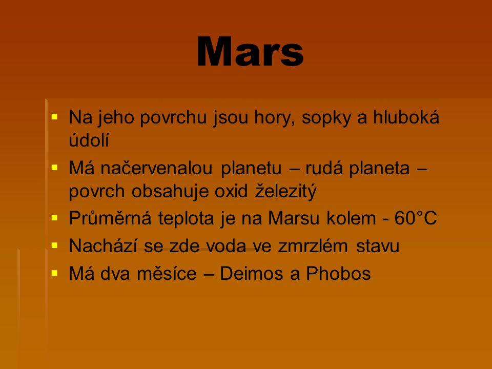 Mars Na jeho povrchu jsou hory, sopky a hluboká údolí