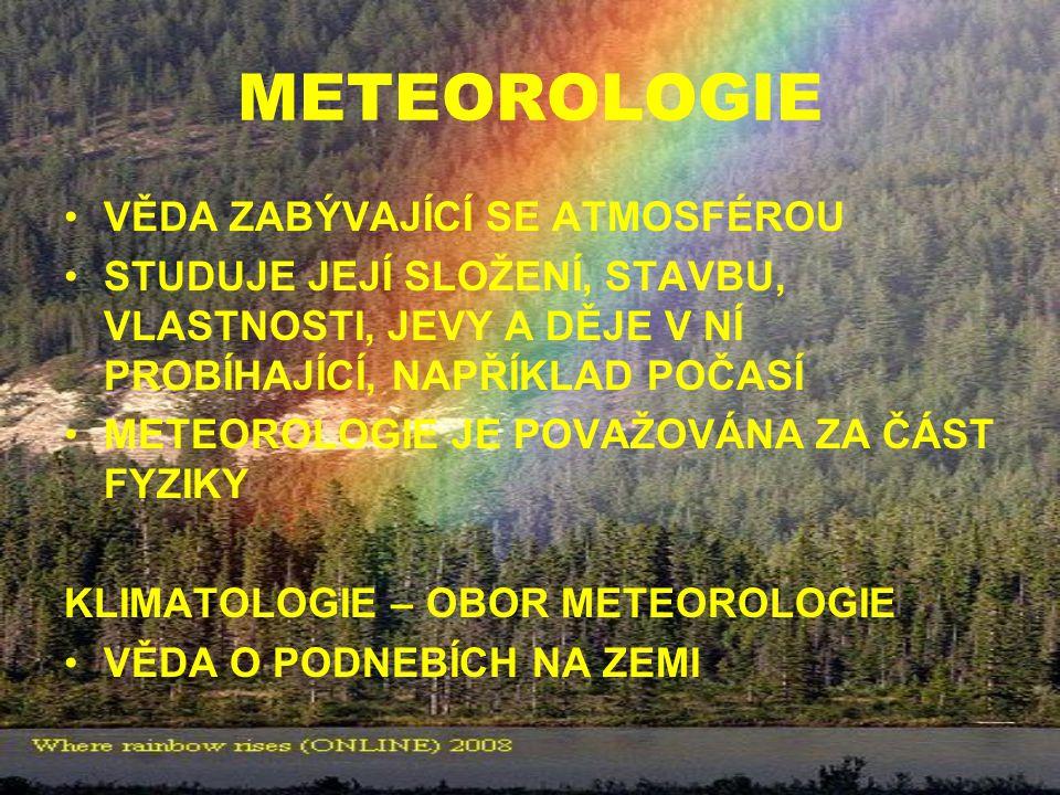 METEOROLOGIE VĚDA ZABÝVAJÍCÍ SE ATMOSFÉROU