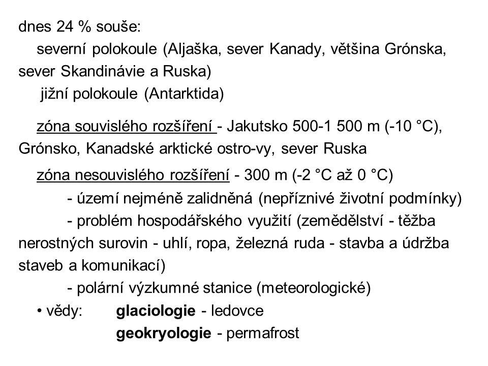 dnes 24 % souše: severní polokoule (Aljaška, sever Kanady, většina Grónska, sever Skandinávie a Ruska)