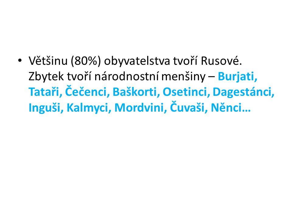 Většinu (80%) obyvatelstva tvoří Rusové