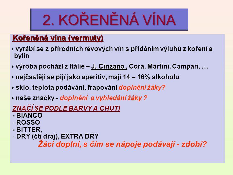 2. KOŘENĚNÁ VÍNA Kořeněná vína (vermuty)