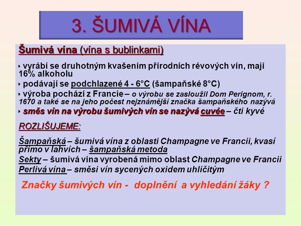 3. ŠUMIVÁ VÍNA Šumivá vína (vína s bublinkami)