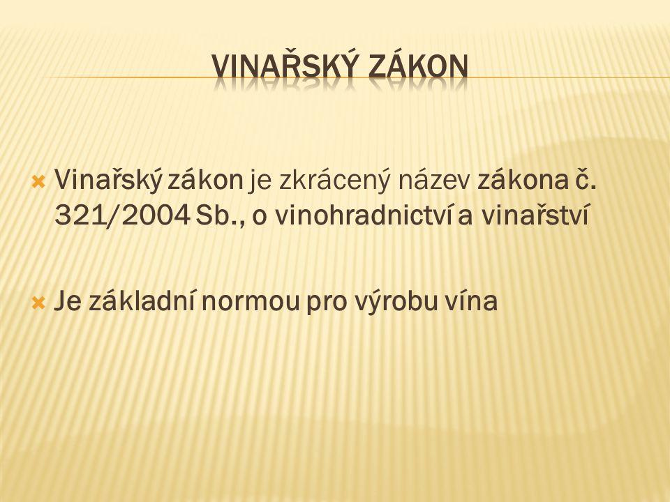Vinařský zákon Vinařský zákon je zkrácený název zákona č. 321/2004 Sb., o vinohradnictví a vinařství.