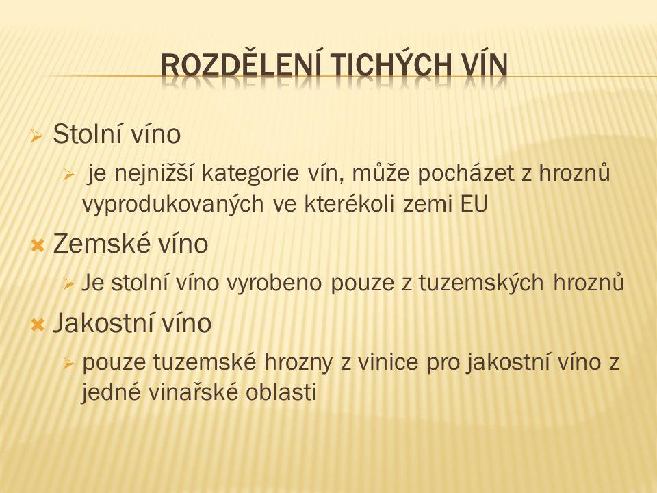 Rozdělení tichých vín Stolní víno Zemské víno Jakostní víno