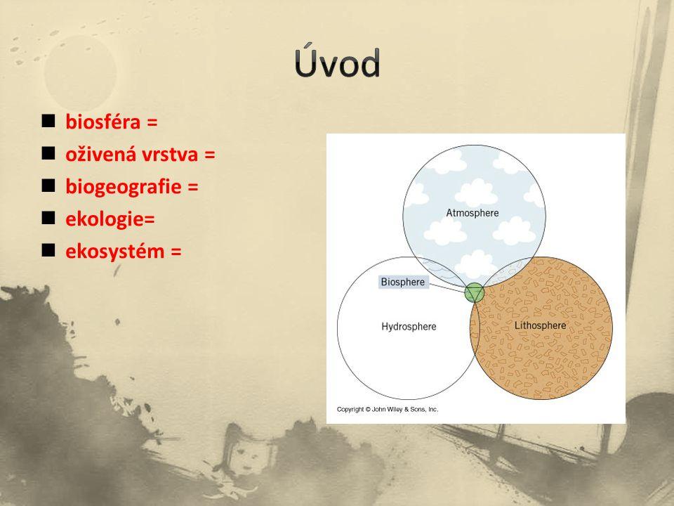 Úvod biosféra = oživená vrstva = biogeografie = ekologie= ekosystém =