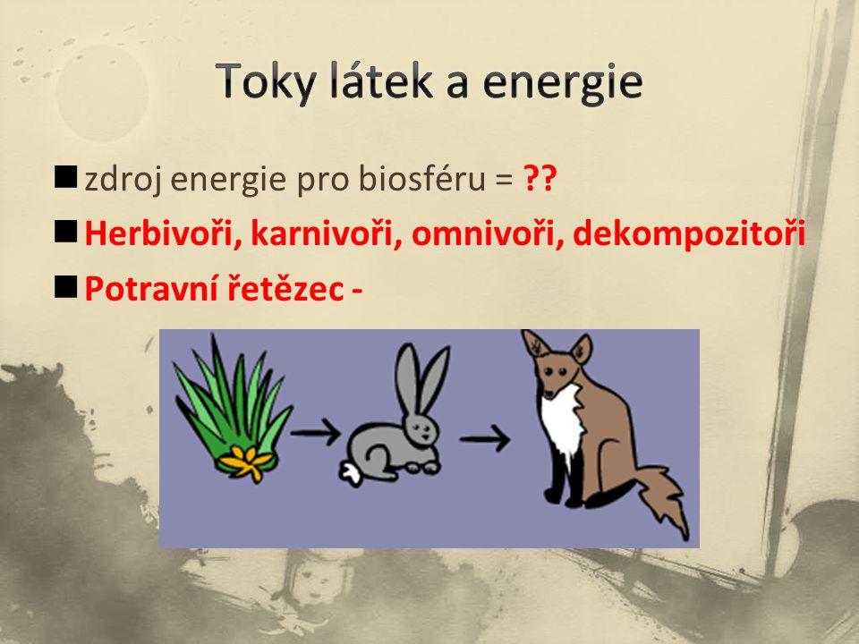 Toky látek a energie zdroj energie pro biosféru =