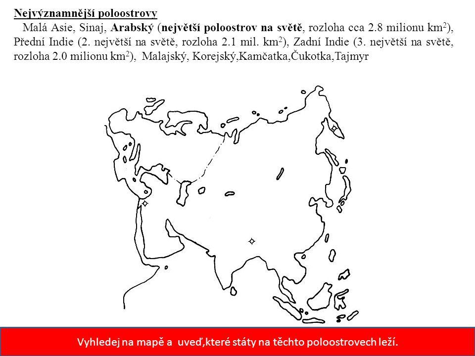 Vyhledej na mapě a uveď,které státy na těchto poloostrovech leží.