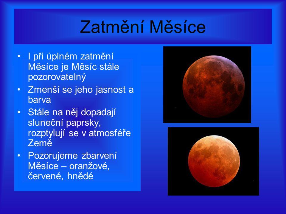 Zatmění Měsíce I při úplném zatmění Měsíce je Měsíc stále pozorovatelný. Zmenší se jeho jasnost a barva.