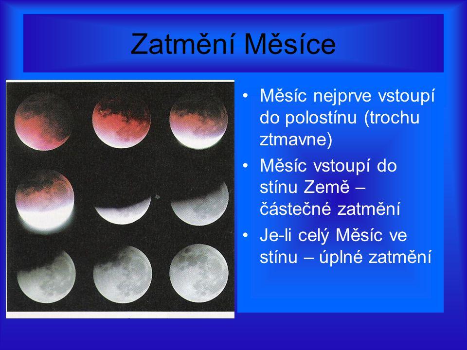 Zatmění Měsíce Měsíc nejprve vstoupí do polostínu (trochu ztmavne)