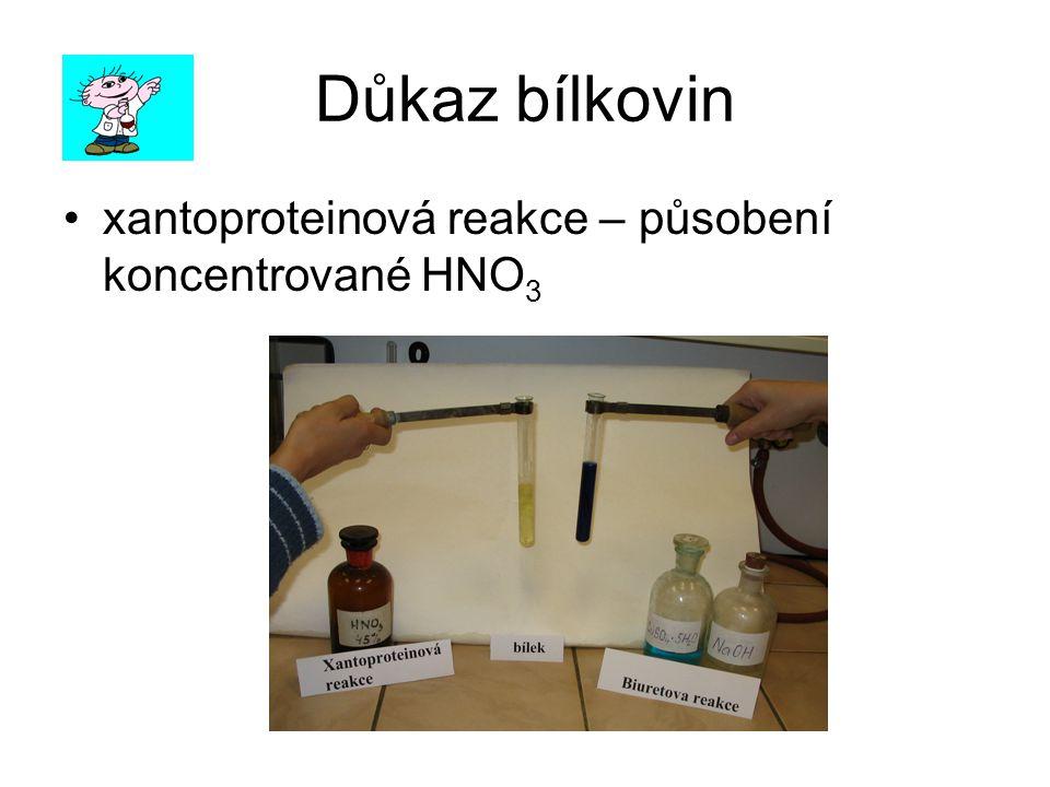 Důkaz bílkovin xantoproteinová reakce – působení koncentrované HNO3