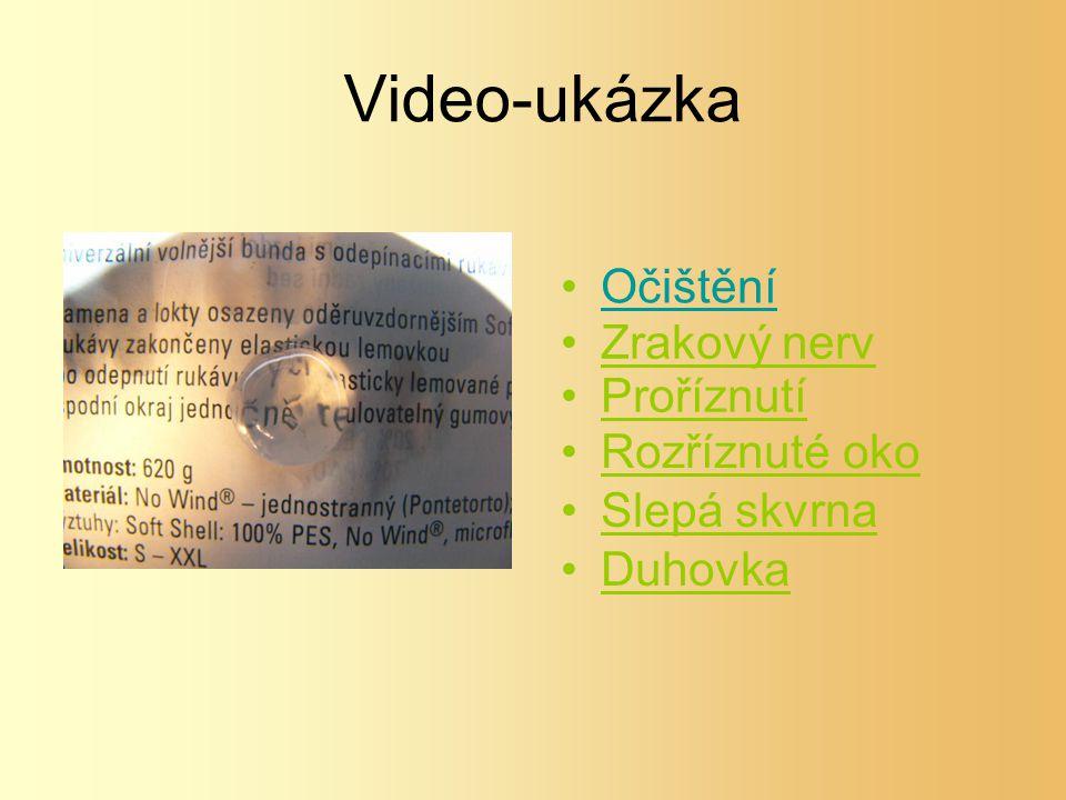 Video-ukázka Očištění Zrakový nerv Proříznutí Rozříznuté oko