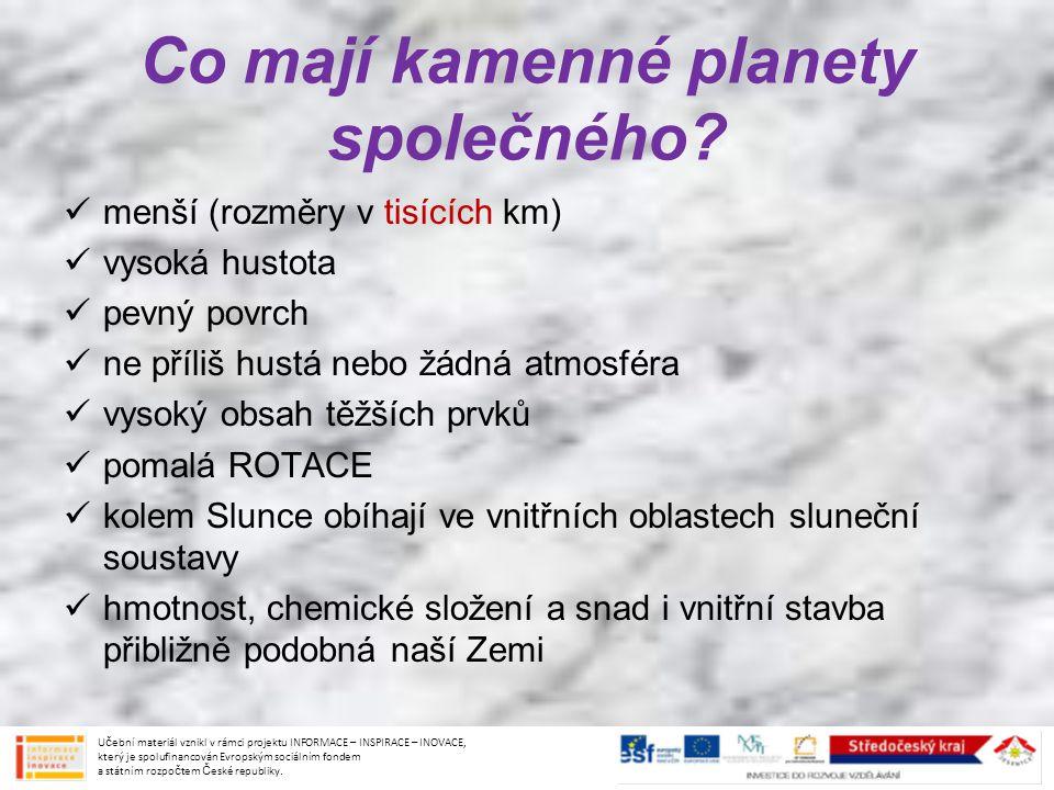 Co mají kamenné planety společného