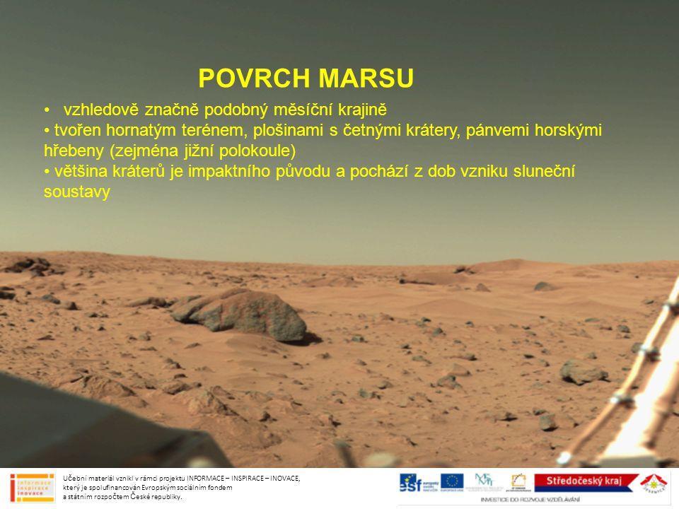 POVRCH MARSU vzhledově značně podobný měsíční krajině