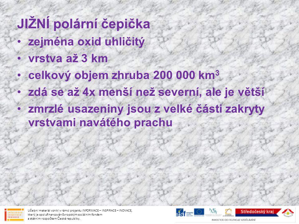 JIŽNÍ polární čepička zejména oxid uhličitý vrstva až 3 km