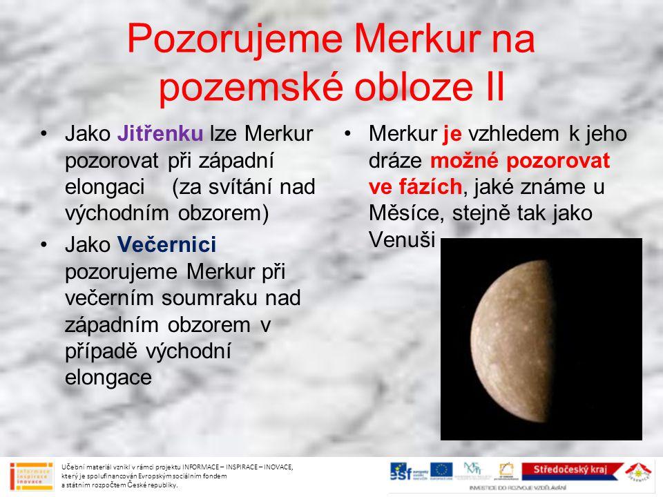 Pozorujeme Merkur na pozemské obloze II