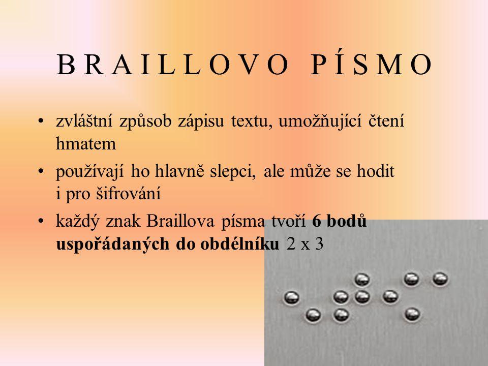 B R A I L L O V O P Í S M O zvláštní způsob zápisu textu, umožňující čtení hmatem. používají ho hlavně slepci, ale může se hodit i pro šifrování.