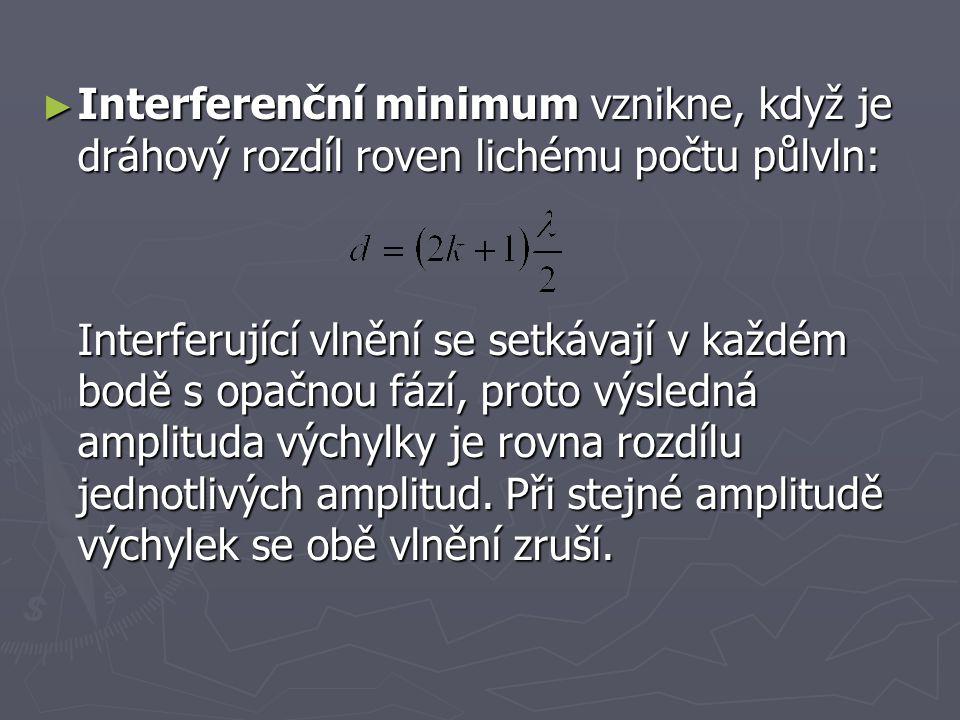 Interferenční minimum vznikne, když je dráhový rozdíl roven lichému počtu půlvln: