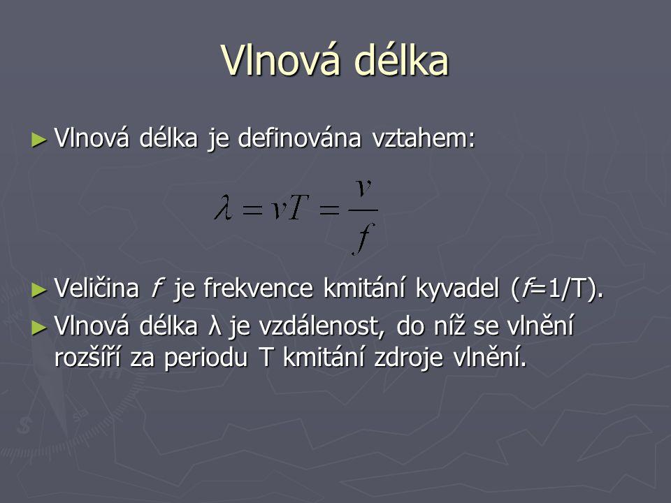 Vlnová délka Vlnová délka je definována vztahem: