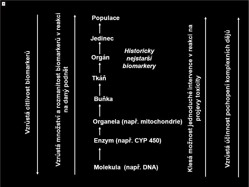 Biomarkery biomarkery na různých úrovních organizace biol. systémů