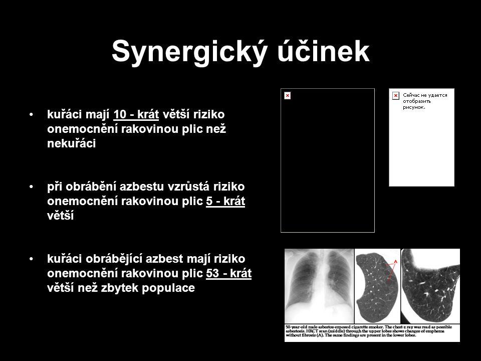 Synergický účinek kuřáci mají 10 - krát větší riziko onemocnění rakovinou plic než nekuřáci.
