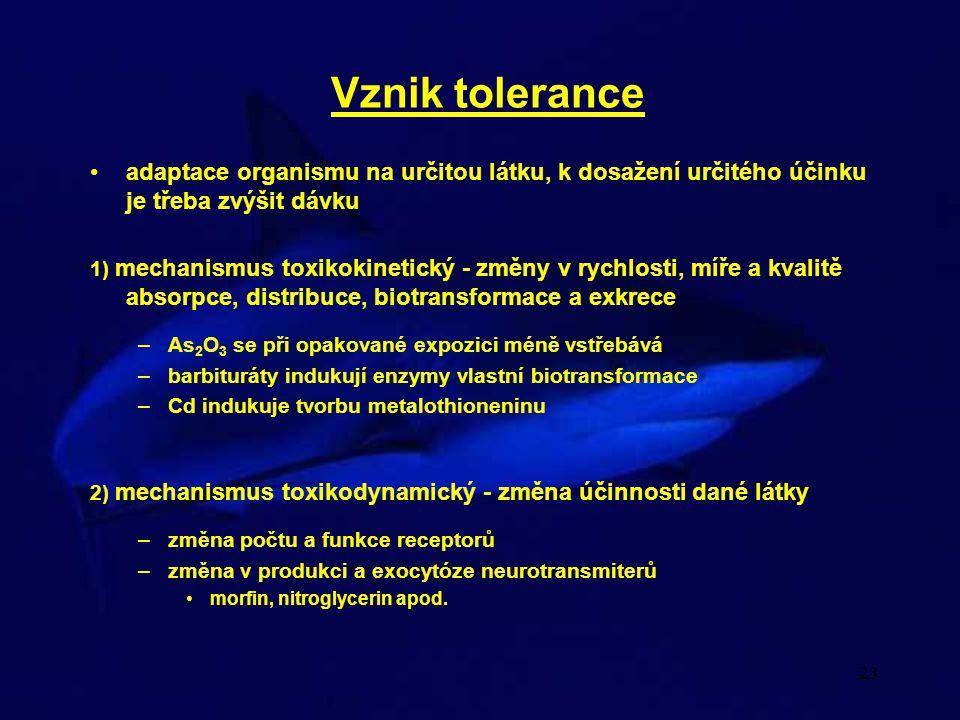 Vznik tolerance adaptace organismu na určitou látku, k dosažení určitého účinku je třeba zvýšit dávku.