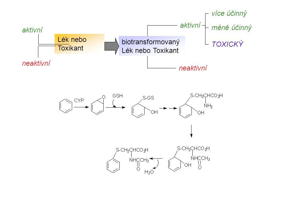 Lék nebo Toxikant biotransformovaný Lék nebo Toxikant. aktivní. neaktivní. více účinný. TOXICKÝ.