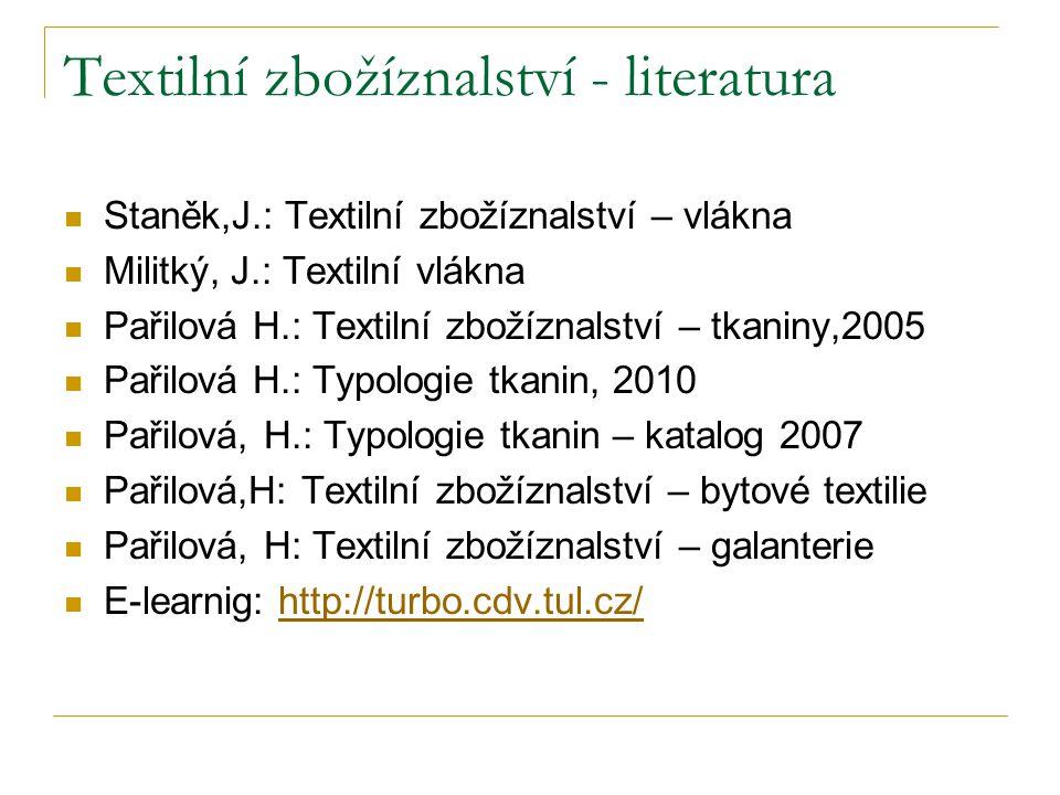 Textilní zbožíznalství - literatura