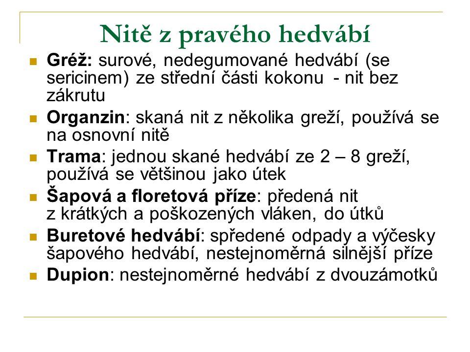 Nitě z pravého hedvábí Gréž: surové, nedegumované hedvábí (se sericinem) ze střední části kokonu - nit bez zákrutu.