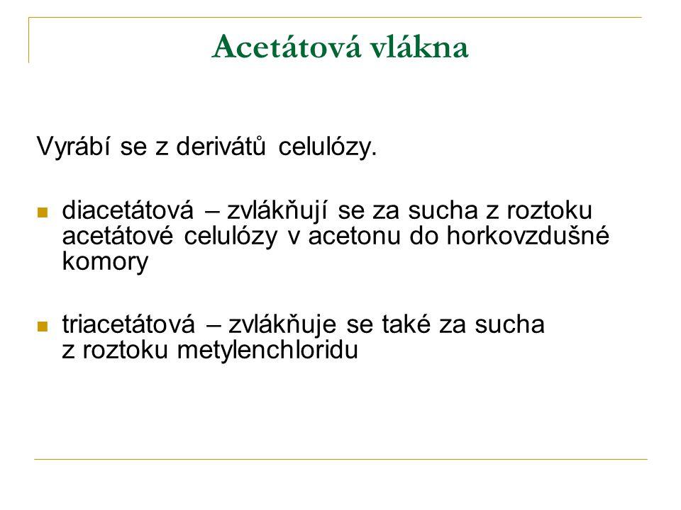 Acetátová vlákna Vyrábí se z derivátů celulózy.