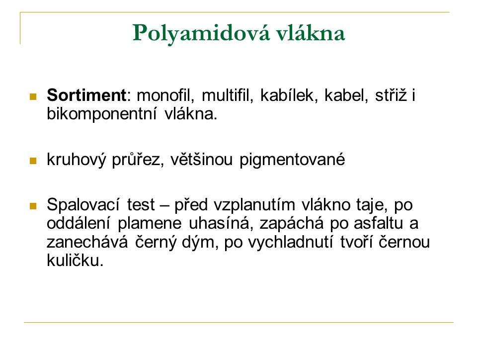 Polyamidová vlákna Sortiment: monofil, multifil, kabílek, kabel, střiž i bikomponentní vlákna. kruhový průřez, většinou pigmentované.