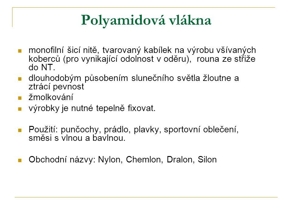 Polyamidová vlákna monofilní šicí nitě, tvarovaný kabílek na výrobu všívaných koberců (pro vynikající odolnost v oděru), rouna ze střiže do NT.