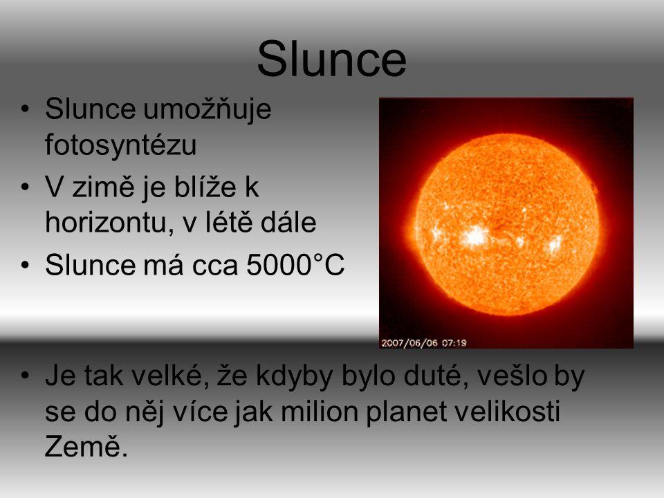 Slunce Slunce umožňuje fotosyntézu