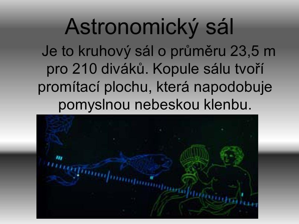 Astronomický sál Je to kruhový sál o průměru 23,5 m pro 210 diváků.