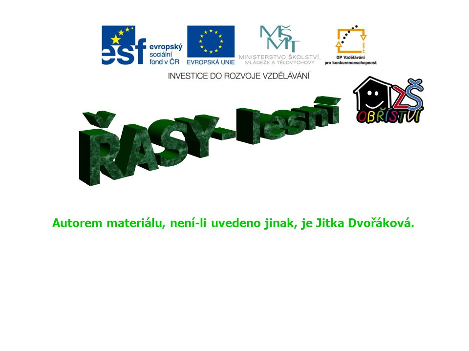 ŘASY- lesní Autorem materiálu, není-li uvedeno jinak, je Jitka Dvořáková.