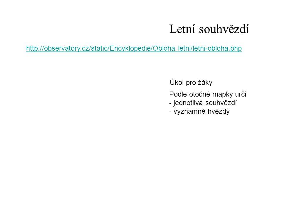 Letní souhvězdí http://observatory.cz/static/Encyklopedie/Obloha letni/letni-obloha.php. Úkol pro žáky.