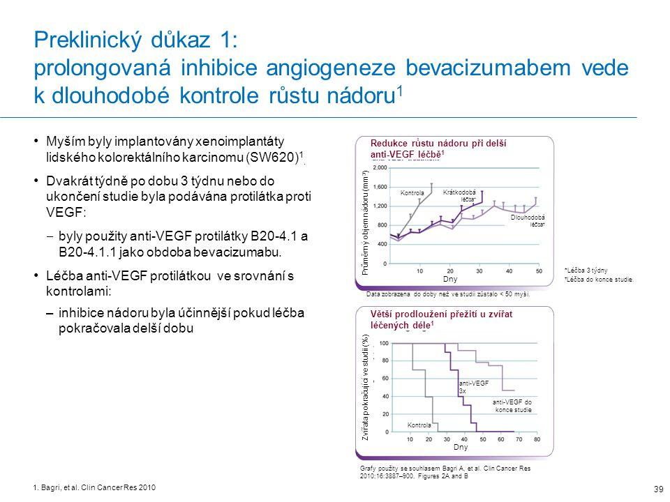 Preklinický důkaz 1: prolongovaná inhibice angiogeneze bevacizumabem vede k dlouhodobé kontrole růstu nádoru1