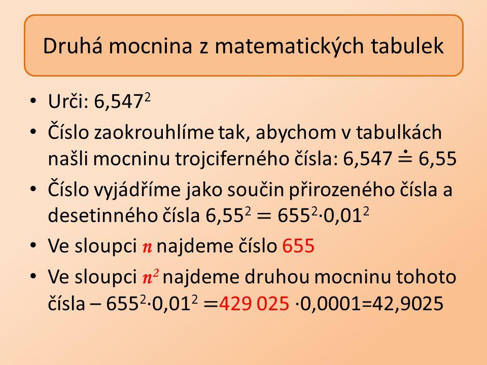Druhá mocnina z matematických tabulek
