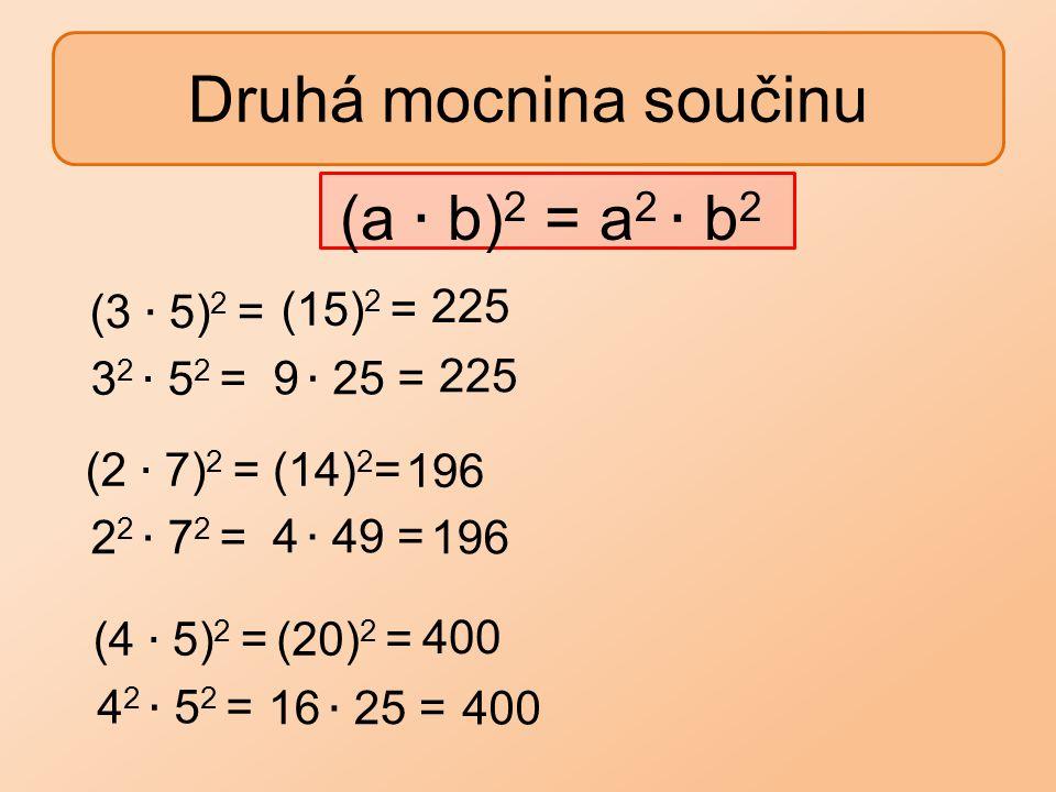 Druhá mocnina součinu (a ∙ b)2 = a2 ∙ b2 (15)2 = 225 (3 ∙ 5)2 =