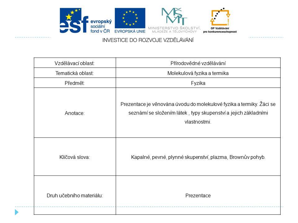 Přírodovědné vzdělávání Tematická oblast: Molekulová fyzika a termika