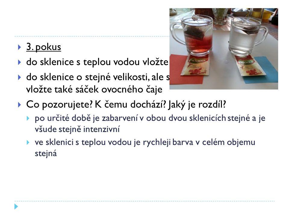 do sklenice s teplou vodou vložte sáček s ovocným čajem