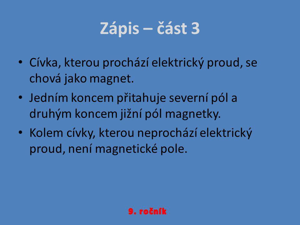 Zápis – část 3 Cívka, kterou prochází elektrický proud, se chová jako magnet.