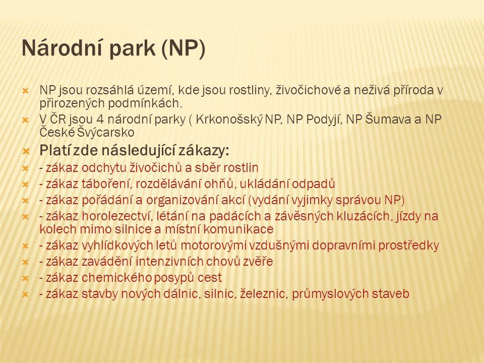 Národní park (NP) Platí zde následující zákazy: