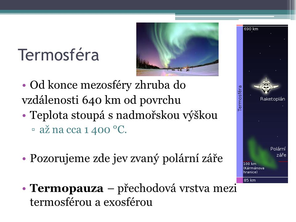 Termosféra Od konce mezosféry zhruba do vzdálenosti 640 km od povrchu