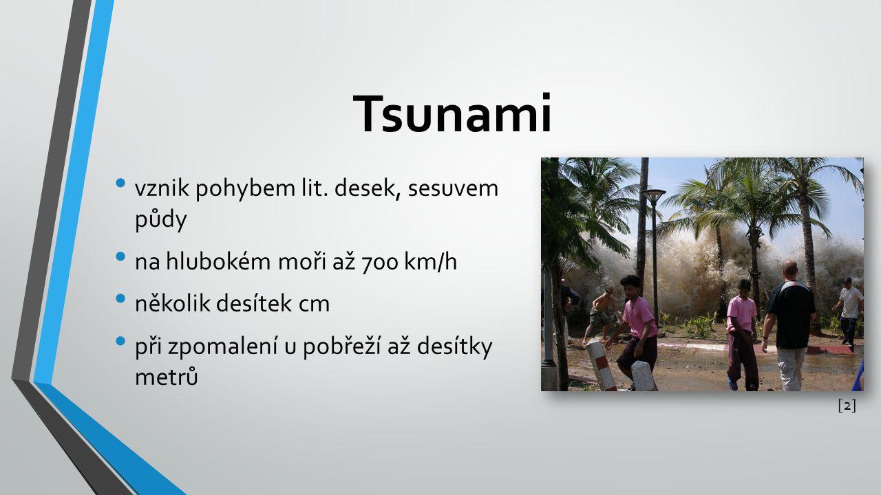 Tsunami vznik pohybem lit. desek, sesuvem půdy